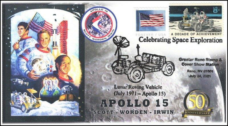 21-213, 2021, Apollo 15, 50th Anniversary, Event Cover, Pictorial Postmark, Reno