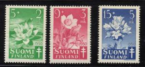 Finland Sc B101-3 1950 Anti TB Flowers stamp set mint NH