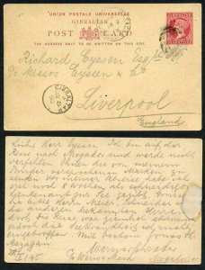 MOROCCO AGS 1895 Gibraltar 10c postcard From MAZAGAN to Liverpool