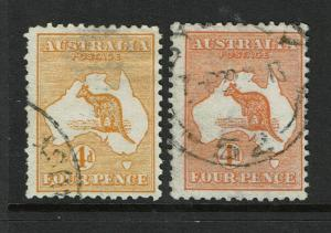 Australia SG# 6 & 6a Used / 6a w/ Sm Pinhole from Strong Wmk - S3222