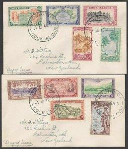 COOK IS 1949 Definitive set on 2 small FDCs ex Rarotonga....................N106