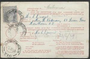 AUSTRALIA 1929 GV 3d on AR card ex Melbourne...............................58899