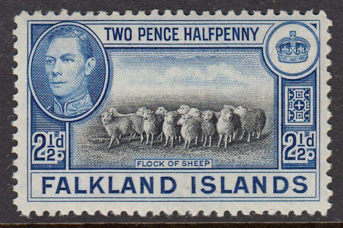 Falkland Islands KGVI 1938 2.5d Black Bright Blue SG151 Mint Never Hinged