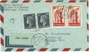 Luxembourg 1957 Rumelange cancels on airmail cover to U.S., 3fr Europa issue
