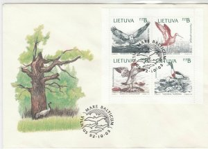 Lithuania 1992 Tree Picture Birds Cancel Mixed Birds Stamps FDC Cover Ref 29606