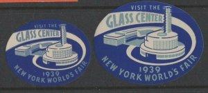 USA - 1939 New York World's Fair Visit Glass Center, Set of 2 MH OG