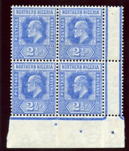 Northern Nigeria 1910 KEVII 2½d blue block of four superb MNH. SG 31. Sc 31.