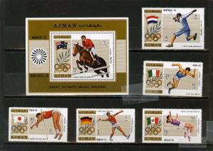 AJMAN 1971 SUMMER OLYMPIC GAMES WINNERS 5 STAMPS & S/S MNH
