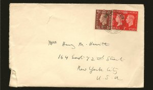 Great Britain 253 & 237 on Postmarked 1940 Cover Used