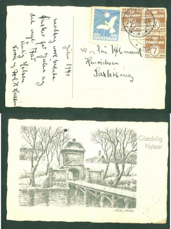 Denmark. Christmas Card 1940,Seal + 3 x 7 Ore  Nykobing Fl. 24 Dec. Adr: Saxko.