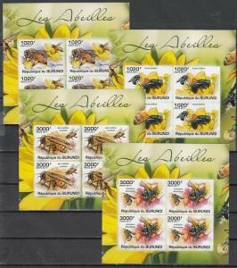 Burundi, 2011 issue. Honey Bees on 4 IMPERF sheets of 4.