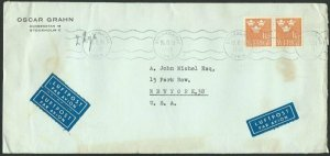 SWEDEN 1953 commercial airmail cover to USA................................60678