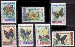 Cambodia - 1983 Butterflies - 7 Stamp Complete  Set  - 386-92
