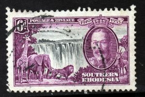 SOUTHERN RHODESIA King George V 1935 Silver Jubilee 6d. Black + Purple SG 34 VFU