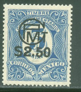 MEXICO 606, $2.50P ON 5¢ INFLATION SURCHARGE. UNUSED, H OG. VF.