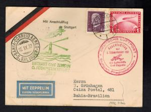1932 Stuttgart Germany Graf Zeppelin Cover to Bahia Brazil LZ 127 6th SAF