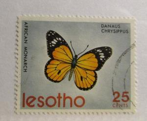 LESOTHO Sc#145  Θ used , 25¢ butterfly African Monarch postage stamp. fine +