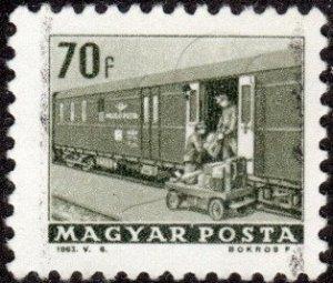 Hungary 1513 - Used - 70f Train Mail Car (1963) +