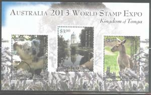 TONGA  Scott 1201 Koala Kangaroo mini sheet 2013 World stamp expo CV$10