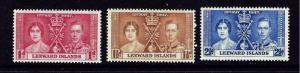 Leeward Is 100-02 MNH 1937 KGVI Coronation