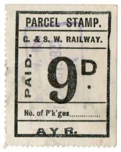 (I.B) Glasgow & South Western Railway : Parcel Stamp 9d (Ayr)