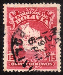 1928, Bolivia 15c, Used damaged, Sc 191