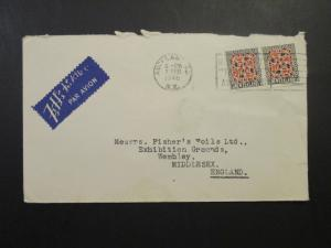 New Zealand SG# 587 Pair on Commercial Cover to England  - Z4206