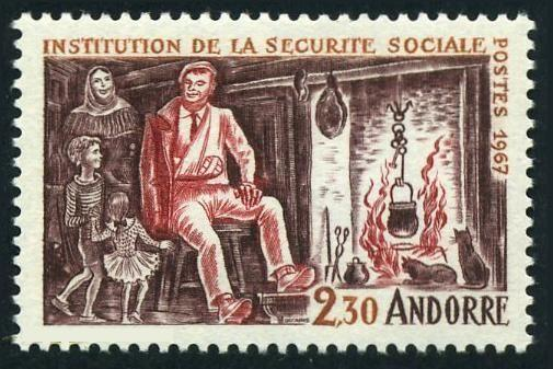 Andorra Fr 177,MNH.Michel 203.Social Security System,1967.Injured father at home