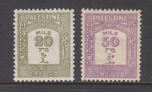 Palestine Sc J19, J20 MLH. 1928 20m & 50m Postage Dues, F-VF