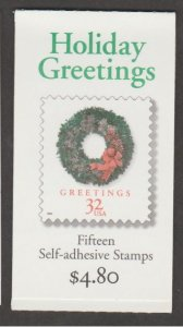U.S. Scott #3248a-3248c BK270 Christmas Wreaths Stamp - Mint NH Booklet
