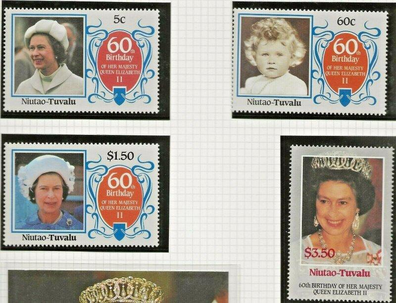 NIUTAO-TUVALU 1986 60TH BIRTHDAY QUEEN ELIZABETH II,SET OF 4 PERF