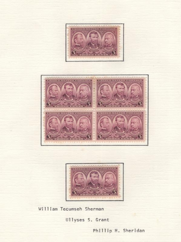US 1937 Army 3c Stamp Block of 4 & 2 Single Stamps Scott 787 MH