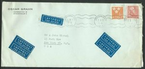 SWEDEN 1953 commercial airmail cover to USA................................60679