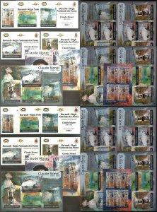 BU28 IMPERF,PERF 2012 BURUNDI ART PAINTINGS CLAUDE MONET !!! 12KB+12BL MNH
