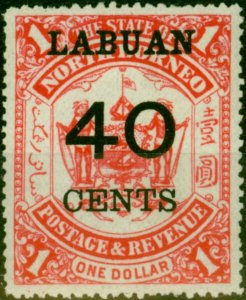 Labuan 1895 40c on $1 Scarlet SG79 Fine Mtd Mint
