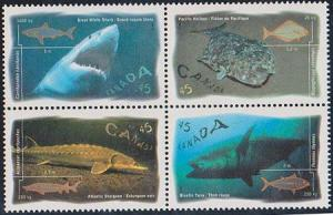 Canada USC #1644a Mint Blk of 4 Diff. VF-NH 1997 Ocran Fish Great White Shark