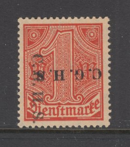 Upper Silesia Sc O47 var MLH. 1920 1mk Double Ovpt, 1 vertical 1 inverted