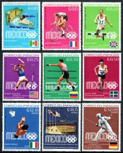 Paraguay 1135-1143, MNH. Summer Olympics, Mexico City. Gold Medal Winners, 1969