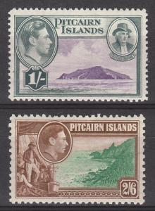 PITCAIRN ISLANDS 1940 KGVI PICTORIAL 1/-  AND 2/6  MNH **