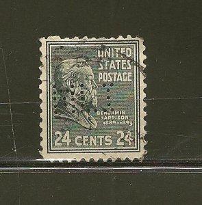 USA 828 Harrison MLI Perfin Used