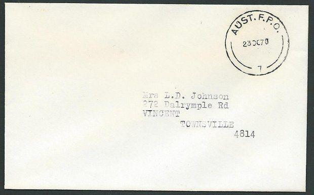 AUSTRALIA 1970 Forces in Vietnam airmail cover. Aust FPO cds...............44172