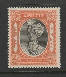 JAIPUR 1932-46 ¾a BLACK & BROWN-RED SG 59 MNH.