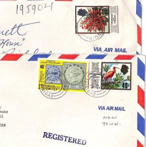 BT253 1979 Trinidad & Tobago *New Town* REGISTERED Commercial Air Mail Covers{2}
