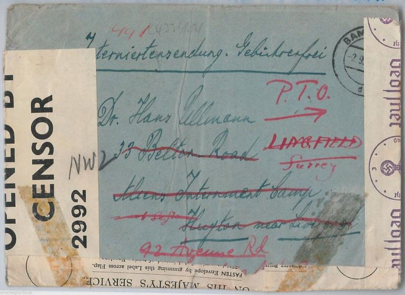 GERMANY Judaica  --  POSTAL HISTORY: COVER to INTERNMENT CAMP for ALLIEN ENEMIES