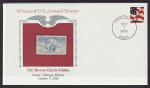 US Doves Circle Globe 50 Years US Airmail Stamps Cover BIN