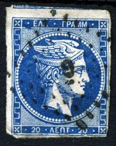 GREECE 1861 20 Lepta Blue Hermes Head SG 20 VFU