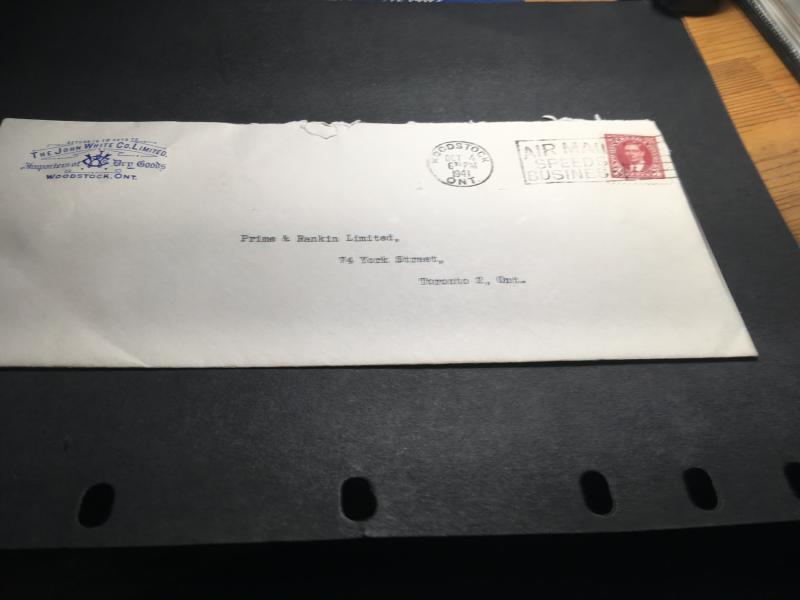Canada 3c Mufti Tied By 1941 Woodstock,Ont.Slogan Cancel To Cover With Crnr Card