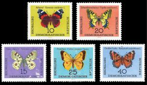 Germany DDR 1963 Sc 683-87 MNH Butterflies  small surface damage