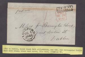 **Ireland Stampless Cover, 1842 Longford to Dublin, Contents