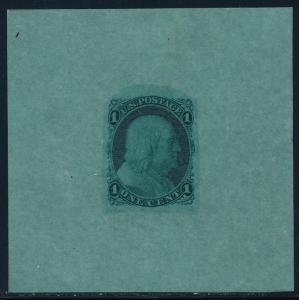 #63-E9f DIE ESSAY ON BOND DISMAL -- BLUE GREEN -- SUPERB HV5570